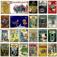 2021 Film de dessin animé français Les aventures de Tintin Metal Signes Vintage mural Art Artisanal Poster Poster Accueil Bar Club Cafe Cafe Enfants Décor