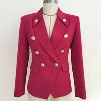 Trajes de mujer Blazers Blazer Collar Botones Doble Breasted Metal Outer Outer Wear High Quality Estiger Traje femenino