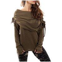 Women's T-Shirt Ladies Drawstring One-shoulder Long-sleeved Retro Fashion Old Fashioned Tribal Flat-shoulder F04