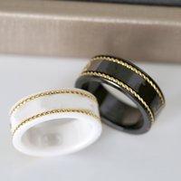 18 K altın çift yüzük moda basit mektup yüzük kadın kalite için seramik malzeme modası takı kaynağı