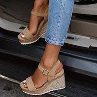 جديد 2020 النساء الأحذية منصة الصنادل النساء اللمحة اصبع القدم عالية الأوتاد كعب الكاحل أبازيم Sandalia Espadrilles أنثى الصنادل الأحذية E5MI #