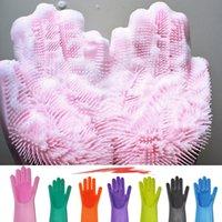 Car Wash Glove Magic Silicone Dishwashing Scrubber Dish Washing Sponge Rubber Scrub Gloves Kitchen Cleaning