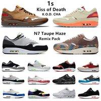 Nike air max 1 chaussures de course pour hommes Kiss of Death K.O.D. CHA Remix Pack london 1s elephant amsterdam Magma Schematic University Blue hommes femmes baskets de sport