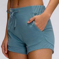 L-2022 Yoga Şort Rahat Kıyafet Kadınlar Cinchable Drawcord Spotrs Kısa Pantolon Yumuşak Kumaş Koşu Pantolon Spor Giyim Fitness Giymek Nake-his çekmeceleri