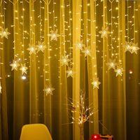 크리스마스 실내 야외 눈송이 LED 문자열 빛 휴가 파티 라이트 커튼 갈 랜드 휴일 파티 새해 장식