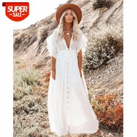 [Frocks]European and American New Products Women's 2021 Beach Blouse Slub Cloth Button Drawstring Long Skirt Sunscreen Shirt #u74D