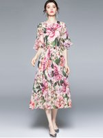 Romantic Floral Printing Dress O-Neck Short Sleeve 2021 Women Summer Dresses Lady and Girl's Casual Wear