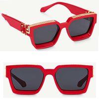 Новые цвета, прибывшие в 2021-Китай Красная рамка Черный объектив Дизайнерские очки Солнцезащитные очки Миллионер квадратный кадр Топ высококачественные очки Z1165W с коробкой
