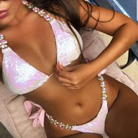 Glänzender Kristall Strass Bikini Weiblicher Bandeau Badeanzug Frauen Halfter Swimwear Diamond Bikinis Set Push Up Badeanzug