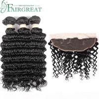 FairGreat Virgin Human Hair 3 paquetes con 13 x 4 encaje frontal de onda profunda trama 100% extensiones de cabello humano color natural al por mayor precio