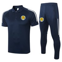 2021 İskoçya Futbol Kısa Kollu Polo Gömlek Setleri Futbol Eğitim Takım Elbise Spor Formaları Yetişkin Futbol Polos ve Pantolon Kitleri Erkek Eşofman