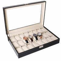 Watch Boxes & Cases 24 Bit Leather Case Storage Display Glasses