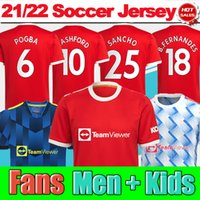 # 25 Sancho 홈 레드 축구 유니폼 2021/2022 # 11 그린 우드 # 18 B.fernandes 멀리 남성 성인 축구 셔츠 21/22 # 10 rashford # 6 Pogba Football Jerseys Kids Kit