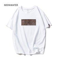Moinwater Yeni Kadın Moda Leopar Baskı T Shirt Beyaz Siyah Pamuk Streetwear T-Shirt Lady Rahat Teestops MT1964 210302