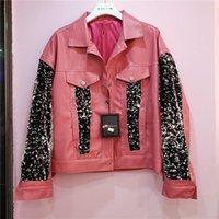Jaquetas femininas jaqueta de couro pu jaqueta feminina feminino rosa tricota de malha europeu 2021 outono costurar casaco falso
