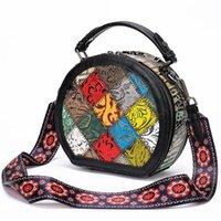 Women Rround Bags Genuine Leather Handbags Large Capacity portable Handbags New Messenger Shoulder Bag Vintage Stitching Designer Dinner Bags