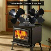 노트북 냉각 패드 4 블레이드 열 전원 나무 스토브 팬 더블 헤드 하트 모양의 벽난로 열전 송풍기 에너지 절약 효율성