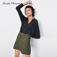 Skirts Casual Sexy Skirt Green Leopard Printed Mini Above Knee Short Macro High Waist Woman Jeans For Female