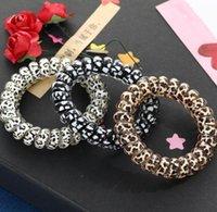 Joyería de goma joyería para mujer niña niña teléfono cable goma bobina corbatas chicas bandas elásticas anillo cuerda leopardo leopardo pulsera pelo elástico