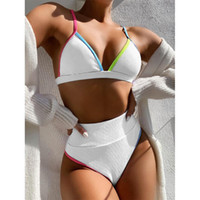 2021 جديد ارتفاع الخصر بيكيني النساء الخامس الرقبة ملابس رفع المايوه الإناث المرقعة الاستحمام الدعاوى الصيف شاطئ ارتداء بدلة السباحة