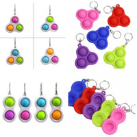 Simple Keychain Fidget Sensory Push Bubble Toy Key Ring Pend...