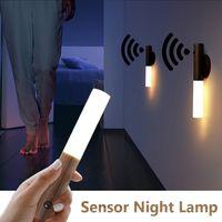 LED Kızılötesi Sensör Işığa Sensörü Gece Işık Kablosuz USB Şarj Edilebilir Gece Lambası Başucu Gardırop Duvar Lambası Için