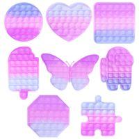 Renk Değiştirme Güneşinde POP Fidget Bisbler Popper Kurulları Popsicle Kelebek Dinozor Parmak Bulmaca Gökkuşağı Poppers UV Renk Değişti Oyuncak G58UCP9
