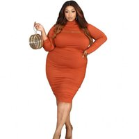 Plus Size Tracksuits 5XL Women Dress Sets Stand Collar Crop Tops And Dresses Suits 2021 Autumn Solid Street Style Casual Large Outfits