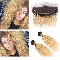 Malasia Human Hair Kinky rizado rubio Ombre 2bundles con frontal 1b 613 Rubio Ombre Rizado Virginal Weaves con 13x4 Full Lace Frontal