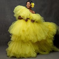 Skirts Extra Puffy Tulle Skirt Long Floor Length Ball Gown Prom Bright Yellow Ruffled Tiered Women Plus Size Mujer Faldas