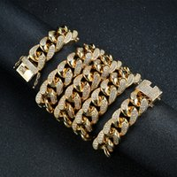 Men Hip Hop Chain 18mm Prong Setting Micro-inlaid Zircon Iced Out Bling 18K Real Gold Plating Necklace Fashion Jewelry For Gift