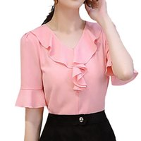 Women's Blouses & Shirts Women Work Office Half-sleeve Ruffle Solid Color Casual Chiffon Plus V-neck Lady Shirt Top Summer Rn