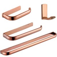 Bath Accessory Set Rose Gold Bathroom Hardware Brass Toilet Paper Holder WC Tissue Hanger Towel Bar Wall Mounted Robe Hook Accessories