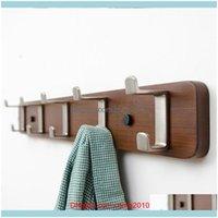 Rails Storage Housekeeping Organization Home & Gardencreative Double Hooks Rack Bamboo Bedroom Clothes Simple Coat Hanger Key Holder Wall 20