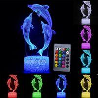 Lámpara de escritorio de control de control remoto / táctil Dolphin Night Color Cambiar 3D LED Luz para los niños Regalo FWF9724