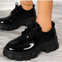 Dress Shoes 2021 Women's Pumps Chunky Heels Lace Up Thick Bottom Shallow Ladies Leather Platform Fashion Classic Female Footwear