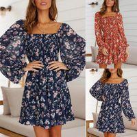 Casual Dresses Ruffle Ladies Midi Dress PFloral Printed Women Sexy A-Line Long Sleeve Autumn Sundress Arty Beach Female D30
