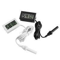 미니 디지털 LCD 온도계 습도계 온도 습도 미터 프로브 화이트와 블랙 재고 무료 배송