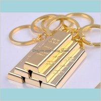 Vintage Gold Bar Schlüsselanhänger Kreative Metallic Ziegel Keychains Designer Handtasche Charms Anhänger Keyringe Key Finder Luxury Man Auto Key II HPI2S