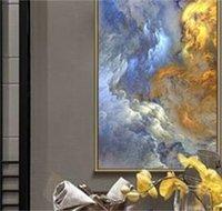 Wangart 추상적 인 색 언리얼 캔버스 포스터 블루 풍경 벽 아트 페인팅 거실 벽 매달려 현대 미술 인쇄 페인트 110 v2