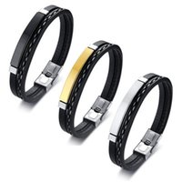 Charm Bracelets Gold Color Stainless Steel Men Bangles 2021 PU Leather Luxury Designer Jewelry For Women