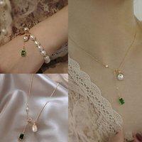 Bellissimo temperamento smeraldo versatile cristallo collana di perle di cristallo catena del collo elegante femminile netto femminile rosso clavicola catena di trendy femmina