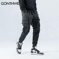Gonthwid lateral zíper bolsos cargo harem corredores calças homens hip hop casual harajuku streetwear calças calças macias 210930