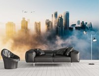 Wallpapers Customized 3d Creative Light Luxury Modern Urban Architecture Scenery In Dreamy Clouds TV Living Room Bedroom Decorative Mural