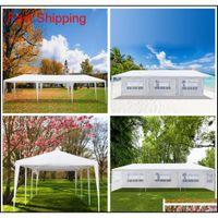 10x30ft 8 الجانبين 2 الأبواب في الهواء الطلق مظلة حزب خيمة الزفاف الأبيض 3x9m شرفة جناح مع دوامة ZBT Homes2011
