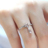 Cluster Rings Water Droplet 925 Silver Color Diamond Ring Korean Anillos Bizuteria Gemstone Wedding For Women Topaz Jewelry