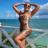 Casual Dresses Aushiya Slash Neck Leopard Bodycon Dress Sexy Tiger Print Strapless Shoulder Summer Women Wild Party Vacation Clothes