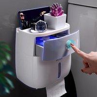 Tapjetales de papel higiénico Montaje de pared Tenedor portátil Rollo portátil Accesorios de baño Caja de almacenamiento de estante Toallas de plástico Hogar