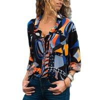 女性のブラウスシャツビンテージ幾何学プリントブラウス2021長袖シフォンルーズ女性シャツ夏のビーチトップティーファッションオフィスプラス