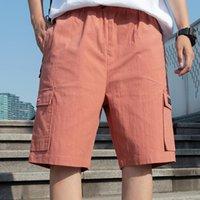 2021 صيف جديد متعدد جيوب الرجال فضفاض البضائع السراويل الشارع الشهير الهيب هوب عداء ببطء السراويل الذكور الصلبة القطن عارضة السراويل القصيرة